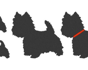 Westie Embroidery Design File - multiple formats - 2 variations - 2 sizes - instant download - silhouette embroider - decal embroidery