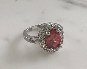 Silver Ruby Diamond Ring