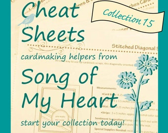 Cheat Sheets #15 Collection: Instant Digital Download cardmaking tutorials, sketches, rubber stamping, complete instructions & measurements