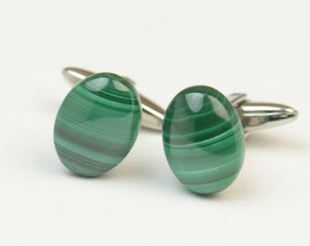 Malachite Gemstone Cufflinks-Mens gifts-Men accessories-Men gift