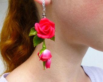 Rose earrings Dark pink earrings Long earrings Pink earrings Floral earrings Flower earrings Red earrings Gift for women Sister gift