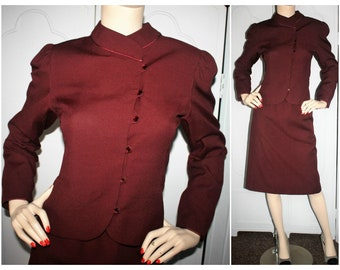 Vintage 70's Eric Sands Burgundy Tailored Skirt Suit with Asymmetric Button Front. Small