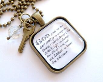 Serenity Prayer Necklace - God Grant Me The Serenity - Inspirational - Christian Jewelry -  Prayer Pendant - The Serenity Prayer