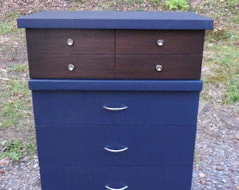 Navy Blue Dresser , Mid Century Dresser , Vintage Dresser , Painted Dresser , Painted Furniture , Up-cycled Dresser