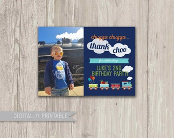 Train Birthday Thank You, Chugga, Chugga Thank CHOO, Printable Thank You Card | Digital File