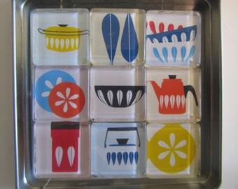 Mid Century Modern Themed Refrigerator Magnets, Catherine Holm Design, Fridge Magnets with Storage Tin - Catherine Holm images Magnets