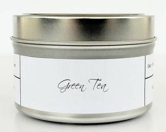 GREEN TEA | Soy Candle | Scented Candle | Candle Tin | Candles | Spa Candle | Clean and Fresh | Herbal and Earthy | Natural Soy