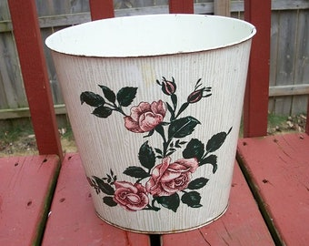 Vintage Adorable Small Size Floral Design Pink Roses on Both Sides Cheinco Wastebasket Trash Can Metal Mid Century