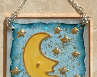 Blue Moon Stained Glass Panel Moon Stars Decor Celestial Suncatcher Wall Art Ornament Personalized Baby Moon Nursery Celestial Decor Gift