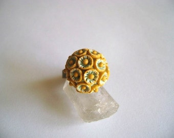 Adjustable Clay Ochre and mint Ring