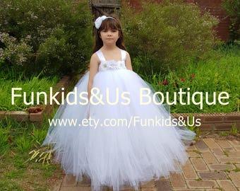 White Flower girl Tutu  Dress  Birthday, Wedding, Photo Prop,choose your dress color