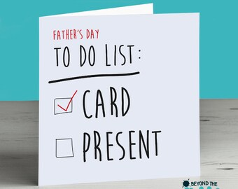 Funny Father's Day Card - No Present - Humour Card for Dad