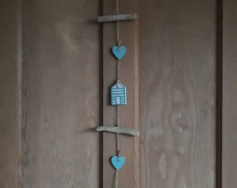 Driftwood beachut hanging garland  #driftwood #beach hut #coastal #seaside