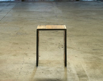 reclaimed wood and high recycled content steel - side table, mini coffee table, end table, ottoman, modern industrial