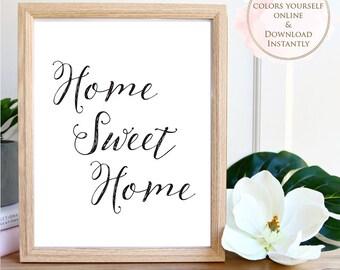 Printable wall art, Printable Quote, Home Sweet Home, Wall Art Prints, Printable Art, Home decor, Printable Gift, Inspirational Art, Prints.