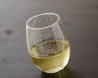 Columbus Map Stemless Wine