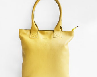 The Essential Tote in Yellow/ Leather Tote Bag / Leather Bag / Yellow Tote Bag /Tote Bag / Yellow Leather Tote / Yellow Leather Bag
