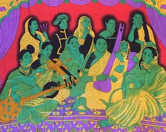SUPER AMAZING Vintage 60's Silky Psychedelic Printed Sari/Saree