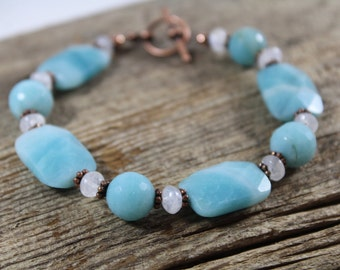 Gemstone Bracelet with Amazonite, Rainbow Moonstone, and Copper / Blue Bracelet / Gifts for Her / Gifts for Women / Copper Jewelry / Chunky