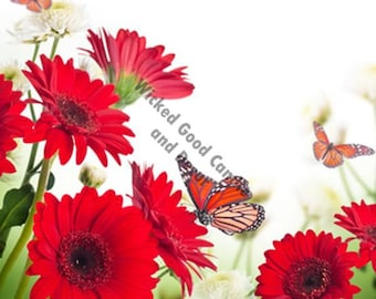 Decorative Ceramic Tile Sublimation - FL_0027 -  Red Gerbera Daisies