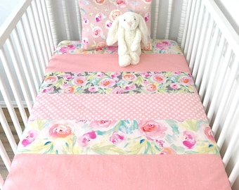 Baby Blanket Baby Quilt Nursery Decor Minky Baby Blanket Baby Shower Gift Watercolor Blush Pink White Mint Gray Flowers Floral Baby Girl