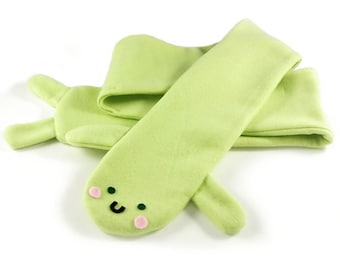 JULY PREORDER Frog scarf scarf green animal fleece childrens kids adults cute soft cosplay costume anime kawaii cute gift ears otaku