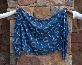indigo blue navy cotton silk scarf, hand dyed, block printed scarf, christmas gifts for women, Fashion scarf  - Anaar