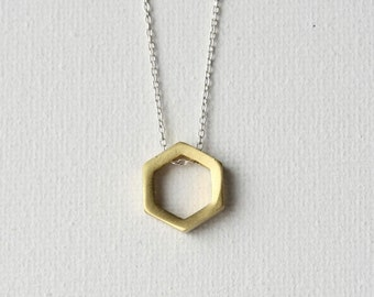Brass Minimal Necklace, Brass Geometric Jewelry, Modern Minimal Jewelry, Mixed Metal Jewelry, Modern Brass Jewelry, Geometric Hexagon