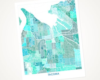 Tacoma Map Print.  Choose the Color and Size.  Washington State Housewarming Gift.  WA Local Art.