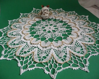 Large doily handmade cotton white and beige