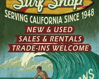 Pismo Beach, California - Surf Shop Vintage Sign (Art Prints available in multiple sizes)