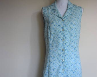 salvation armani vintage dress - blue dress - blue floral dress - button up dress - long dress - day dress - womens vintage dress