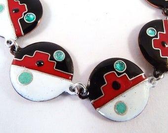 Ethnic inspired in ENAMELS on copper cloisonne silver bracelet