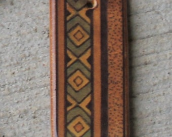 """Rustic Diamonds and Stripes - Ceramic Rectangle Focal Pendant - About 1 1/2"""" long"""
