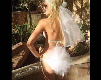 Booty Veil Bachelorette Veil Bridal Bikini Bride Bathing Suit Veil Lingerie Crystal Headband Bridal Tutu White Bride To Be Wedding Sash
