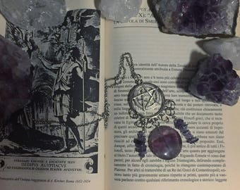 Esoteric Necklace with pentacle and crystal of Amethyst and Flourite (Collana con pentacolo e cristalli di ametista e flourite)