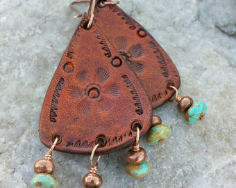 Cowgirl Jewelry - Leather Teardrop Earrings  - Copper -Hand Stamped - Flower - Turquoise Dangle - Western Jewelry by Heart of a Cowgirl