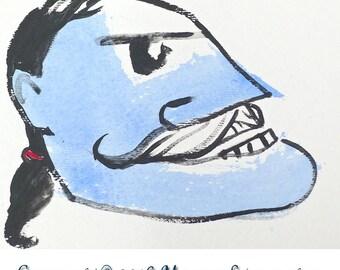 "Original OOAK Mixed Media Drawing - ""Greaser"""