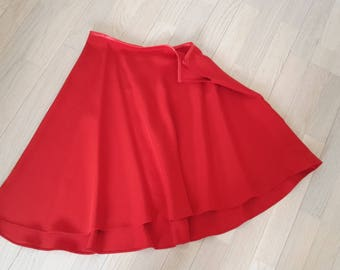 Silk red assymetric skirt size
