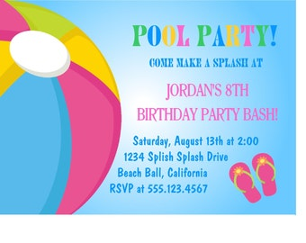 Pool Party Birthday Invitation / Printable Digital File/ Choose Girl or Boy Colors/Tags, Cupcake Toppers Available