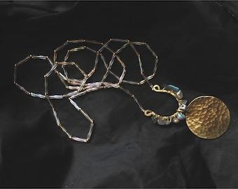 Enceladus Necklace — labradorite, AB czech glass bugle beads, blush silk cord, gold, raw brass hand hammered layeringn nashville rochester