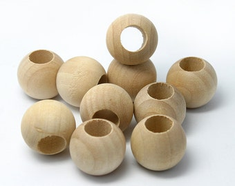 "25  Large Hole Wood Macrame Beads, 3/4"" 20mm, Wide 3/8"" Hole, Unfinished, Made in USA (#1075)"