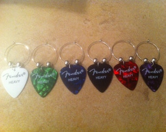 Fender Guitar Pick Wine Charms (Purple Currently Out of Stock)