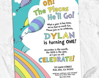 Oh The Places Birthday Party Invitations, kids, birthday, oh the places you'll go, he, she, pink, blue, digital file, printable