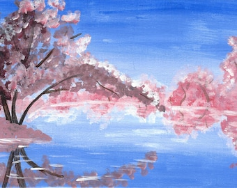 """Spring Cherry Blossoms - 5x7"""" acrylic painting"""