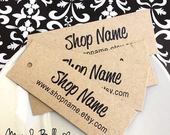 100 Custom Kraft tags, Personalized Tags, Price Tags, Product Tags, Hang Tags, Gift Tags, Supplies, Etsy Seller, Labels, Merchandise Tags