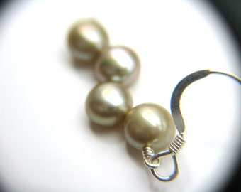 Pearl Earrings Dangle . Light Green Earrings . Green Pearl Earrings . Pale Green Freshwater Pearl Dangle Earrings