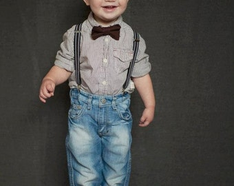 Boys Brown Bow Tie Suspender Set, Baby Boy Bow Tie, Boys Suspenders, Boys 1st Bithday Outfit, Boys Cake Smash Outfit, Wedding Bow Tie, Suits
