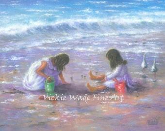 Two Sisters Beach Art Print, two girls, beach girls, brunette girls, wall art, beach children, shelling, girls room art, Vickie Wade Art