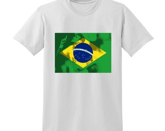 Russia World Cup 2018 Graphic Tshirt BRAZIL Flag Football Team Soccer Country